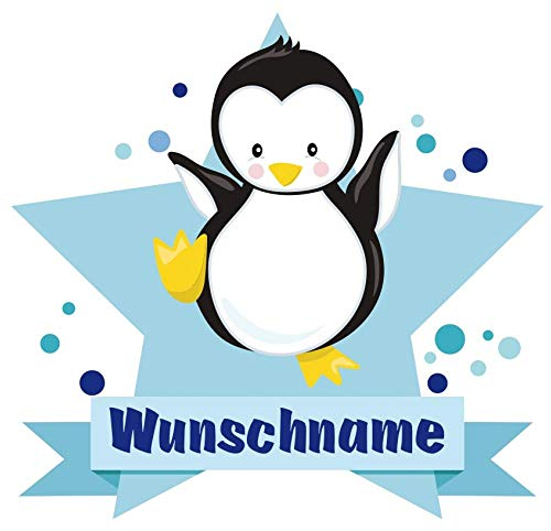 Samunshi® Baby Pinguin Aufkleber mit Namen Autoaufkleber Namensaufkleber Kinder in 7 Größen (15x13,1cm Mehrfarbig)