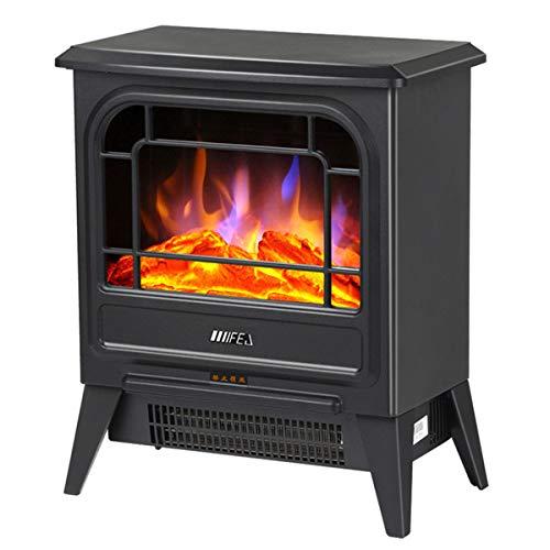 Elektrische open haard - 900 W en 1800 W vrijstaande vlammenhaard, 2 warmte-instellingen ruimteverwarming houtkachel voor thuis en op kantoor