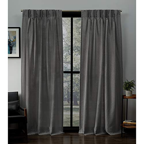 Exclusive Home Curtains Loha Linen Pinch Pleat Curtain Panel Pair, 84' Length, Black Pearl