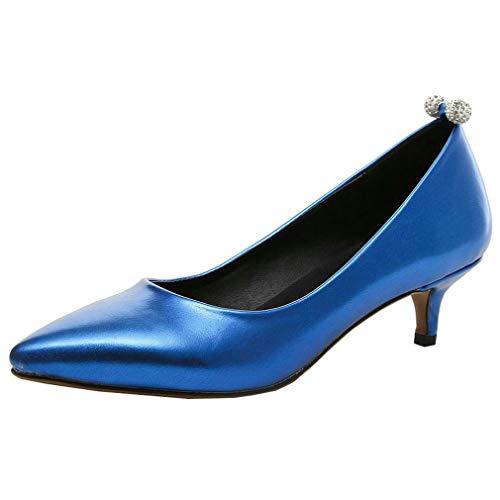COCOLULU Damen Kitten Heels Pumps Spitz Niedriger Absatz Schlüpfen Elegant Schuhe(EU Size 37, Königsblau)