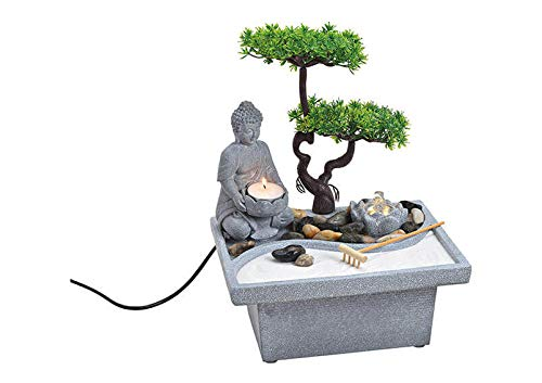 Wurm Zimmerbrunnen Buddha mit Bonsaibaum beleuchtet aus Poly Grau (B/H/T) 25x32x20cm