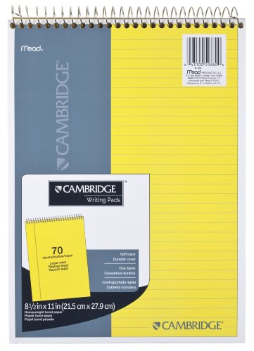 """Mead Legal Pad, Top Spiral Bound, Wide Ruled Paper, 70 Sheets, 8-1/2"""" x 11"""", Yellow Cyan (MEA59880)"""