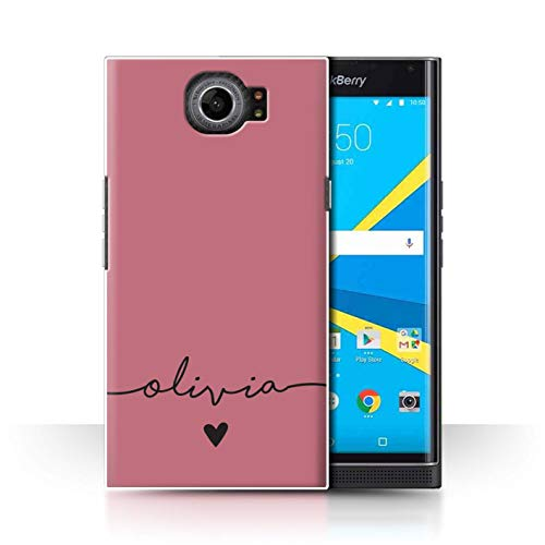 Stuff4 Personalisiert Individuell Farbe Palette Hülle für BlackBerry Priv/Roségold Rosa Design/Initiale/Name/Text Schutzhülle/Case/Etui