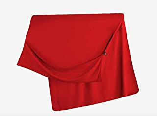 GRAND TRUNK Travel Throw Blanket - Warm Eco Friendly Soft Bamboo Blend, Cozy Foot Pockets - Lightweight, Packable for Camping, Airplane, Car, Work, Bright Crimson