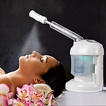 Facial Steamer with Extendable Arm Ozone Table Top Mini Spa Face Steamer Design For Personal Care Use At Home or Salon White