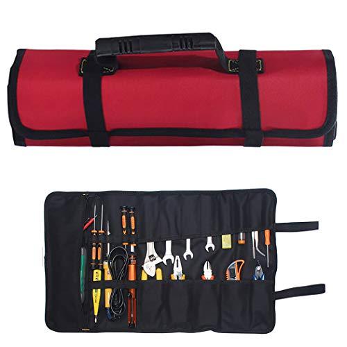 JUSTDOLIFE Gereedschapstroltas, 23 vakken, draagbaar gereedschap, roltas, gereedschap, rollen, organizer voor reparatie rood