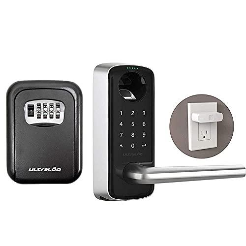 ULTRALOQ Smart Lever Door Lock + Key Storage Lock Box + Bridge WiFi Adaptor 6-in-1 Keyless Entry Door Lock with WiFi, Bluetooth, Biometric Fingerprint and Keypad