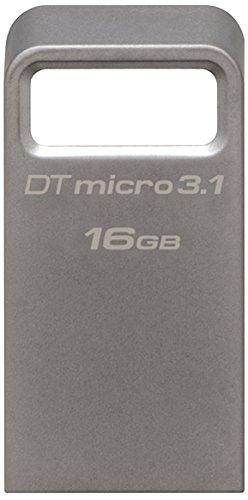 Kingston DataTraveler Micro 3.1 DTMC3/16GB Llave USB 3.1 Ultra pequeña, Ligera, sin Tapa, Metal