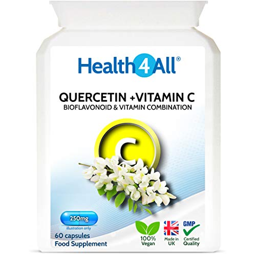 Quercetin 250mg with Vitamin C and Citrus Bioflavonoids 60 Capsules (V) Antioxidant. Natural Antihistamine. Vegan. Made by Health4All