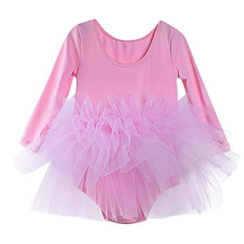LABIUO Robe Bébé Fille Mode Vetement en Coton Manches Longues Barboteuses Bébé Fille Combinaison Tulle Tutu Jupe de Ballet Vêtement Bebe Fille pour 2-6 Ans(Rose,3-4 Ans)