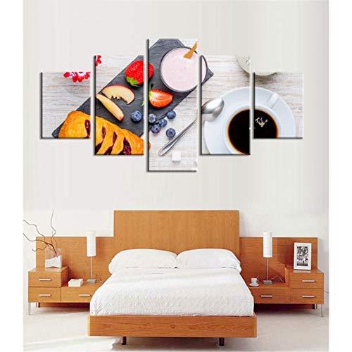 TIANJJss 5 foto's op canvas met afbeeldingen op canvas poster koffie keuken eten brood kunst voor muren afbeelding huisdecoratie 5 stuks druk slaapkamer foto's decoratie
