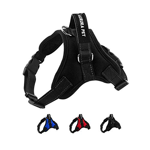 Aurora Pet Dog Harness No Pull Pet Harness Adjustable Outdoor Pet Vest 3M Reflective Vest Harness with Easy Control Handle and Two Leash Attachments for Small Medium Large Dogs (Medium, Black)