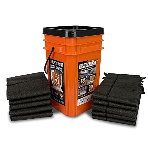 Quick Dam Grab & Go Flood Kit includes 5- 5ft Flood Barriers & 10- 2ft Flood Bags in Bucket