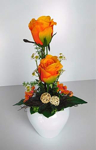 Blumengesteck Tischgesteck Tischdeko Rosen Rosengesteck Kunstblume Dekoblume künstlich Kunst Blume unecht Topf H 34 cm orange 115