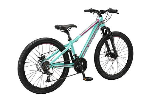 BIKESTAR Kinder Fahrrad Aluminium Mountainbike 21 Gang Shimano, Scheibenbremse ab 9 Jahre   24 Zoll Kinderrad MTB   Mint Lila