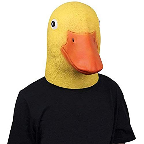 HYDDG Halloween Maske, Entenkopfmaske, Halloween Neuheit Deluxe Tierkopfmaske, Latex Nette Gelbe Entenmaske für Kostümspiel (Gelb)