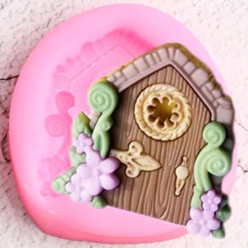 CSCZL Moldes de Silicona con Borde de Puertas de Flores, decoración de Cupcakes de cumpleaños, Herramientas de decoración de tortas con Fondant, moldes de Pasta de Goma de Chocolate y Caramelo