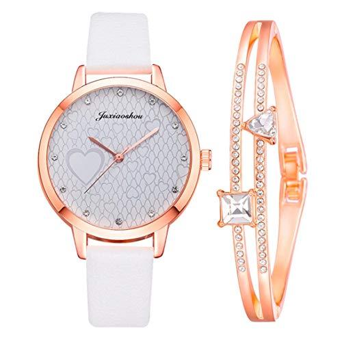 Hunpta @ Damen Armbanduhren Armband Set Analog Quarz Uhr Mode Frauen Mädchen Armbanduhr Lederarmband Legierung Uhren Strass Herzform Muster Zifferblatt Weihnachten Geburtstag Geschenk