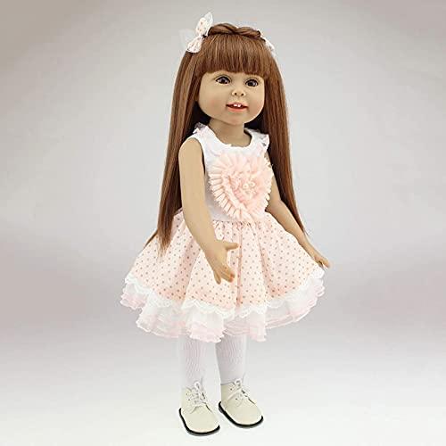 GDEVNSL Reborn Baby Dolls, Silicona Renacimiento Muñeca Princesa Cabello Largo Muñeca de Vestir para niños Casa de Juegos Acompañar baño Accesorios de fotografía Regalo de niña 45 cm