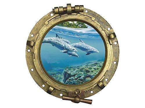 GRAZDesign Wandtattoo Bullauge Meer Insel - Maritime Dekoration Fliesentattoos Delfine - Fliesenbilder Bad Badezimmer WC Unterwasser / 32x30cm