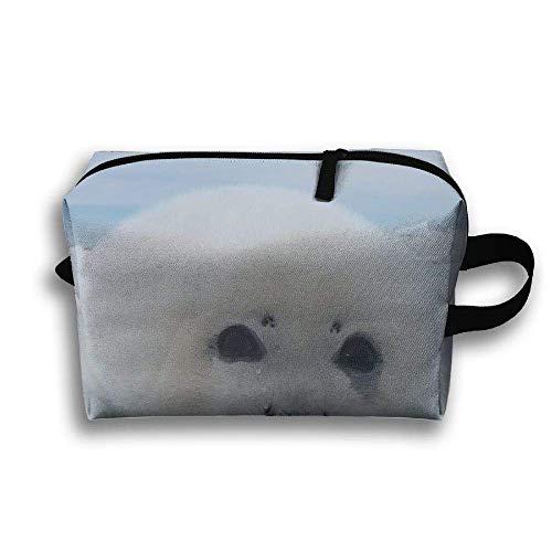 Cute Harp Seal Portable Travel Makeup Bag,Storage Bag Portable Ladies Travel Square Cosmetic Bag