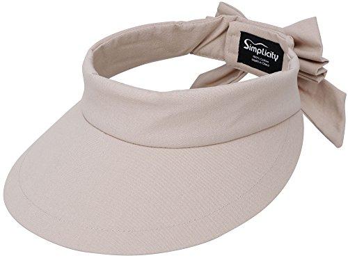 Simplicity Visor Women's SPF 50+ UV Protection Wide Brim Beach Sun Hat,Beige