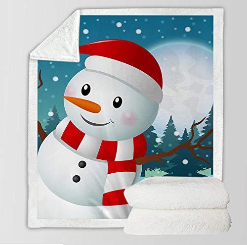 Lindo Estampado De Muñeco De Nieve Manta 3D Digital Impresión Comfort Calor Suave Ajuste...