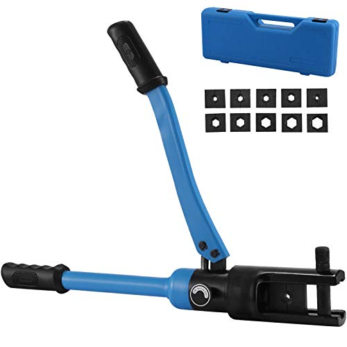 Mophorn Hydraulic Cable Lug Crimper Tool 4 AWG to 500 MCM,Hydraulic Wire Crimper Battery Cable Lug Terminal Crimping Tool 16 Ton w/ 10 Dies, Wire Crimping Tool, Durable Construction