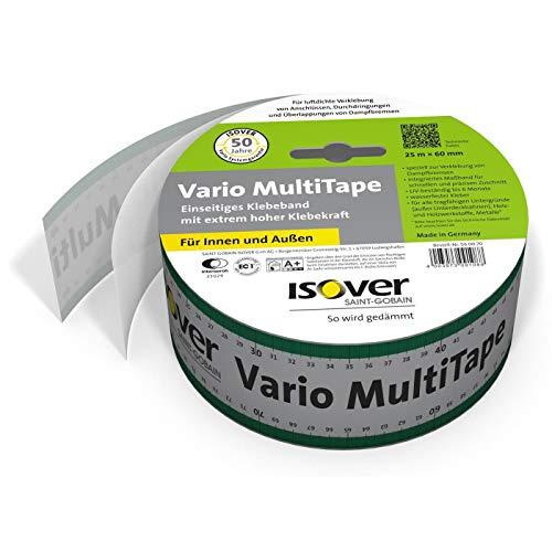 Isover 560070 Vario MultiTape Klebeband-60 mm breit-25 m Rolle integriertes Maßband Einseitiges, multifunktionales Klebeband für innen und außen, Mehrfarbig, 60 mm x m, 25 lfm