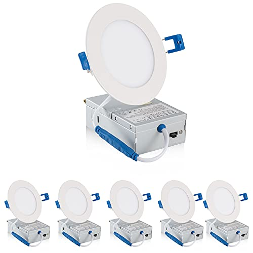 Juego de 6 focos LED empotrables de 14 W, blanco cálido y frío, intensidad regulable, redondos, 750 lm, para muebles, foco empotrable de baño (tricolor regulable con interruptor, 4 pulgadas)