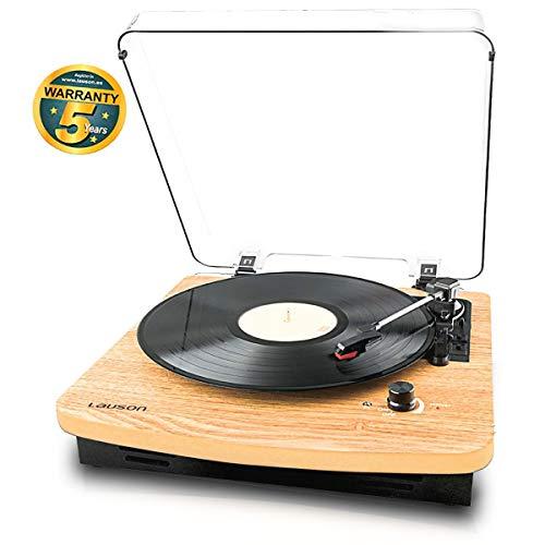 Lauson CL608 Giradischi Vinile Bluetooth | USB | Convertitore da Vinile a MP3 | Lettore vinile 3 velocità (33/45/78 RPM) | Record Player Vintage | RCA | Legno