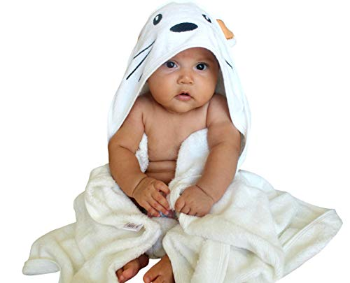 Immaculate Textiles Premium Bamboo Hooded Baby Bath Towel Set