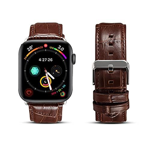 Correa de Reloj para Apple Watch SE Series 6 5 4 3 2 1, Correa de Cuero Patrón de Cocodrilo Compatible con iWatch 44/42mm 40/38 mm, Repuesto de Correa Reloj para Hombre y Mujer,Brown,42/44mm