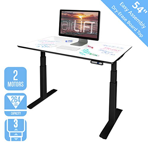 """Price comparison product image Seville Classics AIRLIFT Pro S3 54"""" Whiteboard Top Commercial-Grade Electric Adjustable Standing Desk (51.4"""" Max Height) Table,  Black / Dry-Erase"""