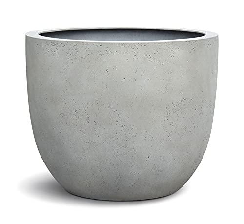 VAPLANTO® Pflanzkübel Egg Pot 40 Beton Hell Grau Rund * 36 x 36 x 31 cm * 10 Jahre Garantie