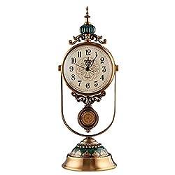XZ max ^Desk Clock Desk Clock, European Clock, Living Room Tabletop, Creative Decoration, Retro Pendulum Clock, Mute Table Clock, Pendulum Clock Bracket Clock (Color : A)