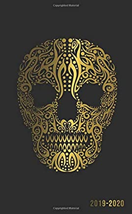 2019-2020: Nifty Golden Skull Two-Year Monthly Pocket Planner with Phone Book, Password Log and Notebook. Cute Spiritual Calendar, Organizer and Agenda.