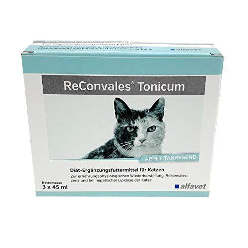 ReConvales®Tonicum Katze-Inhalt: 3 x 45 ml-Diät-Ergänzungsfuttermittel-Zur ernährungsphysiologischen Wiederherstellung, in der Rekonvaleszenz und bei hepatischer Lipidose der Katze