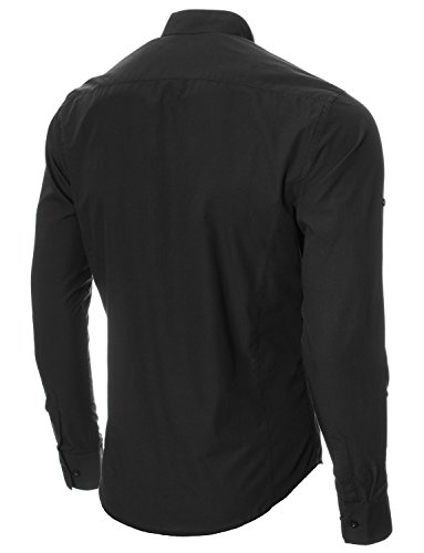 MODERNO Mens Shirts Slim Fit Casual Henley Long Sleeve Grandad Collar (MOD1431LS) Black US L
