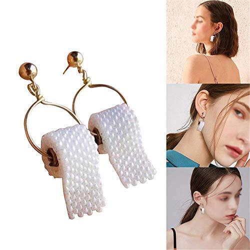 AMTBBK Papel Higiénico Pendientes Único Rollo De Papel Earing Rollo De Papel Divertido Ear Drops Creativo Mujeres...