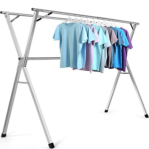 Tendedero de ropa de acero inoxidable resistente y plegable para uso en interiores y exteriores, 59 pulgadas