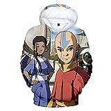 Avatar The Last Airbender Sudadera con Capucha Aang Katara 3D Impreso Pullover Sudadera Anime Cosplay Disfraz para Hombres Mujeres Niños Niñas