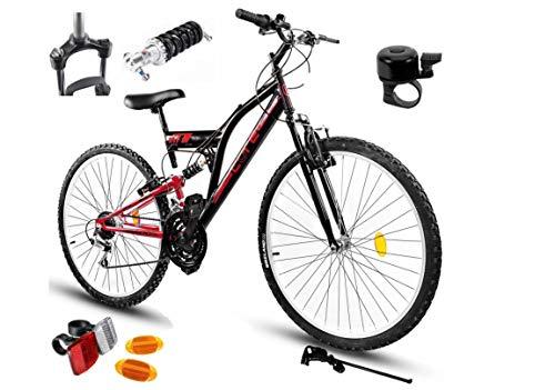 BDW Mountain bike Goetze CORE 24 pollici, sospensione completa a 18 marce, per bambini, per bambini da 120 a 155 cm, colore rosso