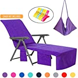 VOCOOL Lounge Chair Beach Towel Cover Microfiber Pool Lounge Chair Cover with Pockets Holidays Purple