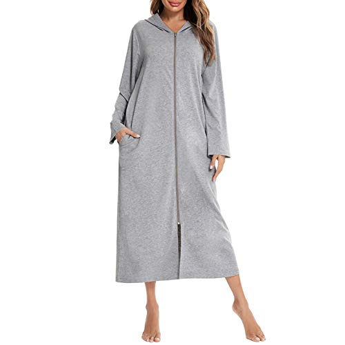 Romacci Robe feminino com capuz e zíper frontal, quimono macio para dormir, Cinza, S