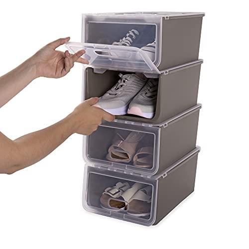 USE FAMILY 4 Cajas zapatos apilables rigidas hasta talla 46- Transpirable - Organizadores de almacenamiento (Basalto)
