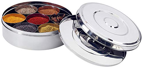 Stainless Steel Spice Box for Spice Organizer With Lid For Kitchenware tools Indian Masala Dabba Spice Rack Spice Storage box Include 7 steel containers for spice and 1 Spoon Indian Spice box