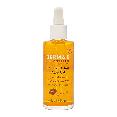DERMA E SunKissAlba Radiant Face Glow Oil, 2 oz - Signature antioxidant-rich facial oil with Jojoba, Argan, and Seabuckthorn oils, plus mineral Mica for a natural shimmer – Moisturizing anti-aging serum
