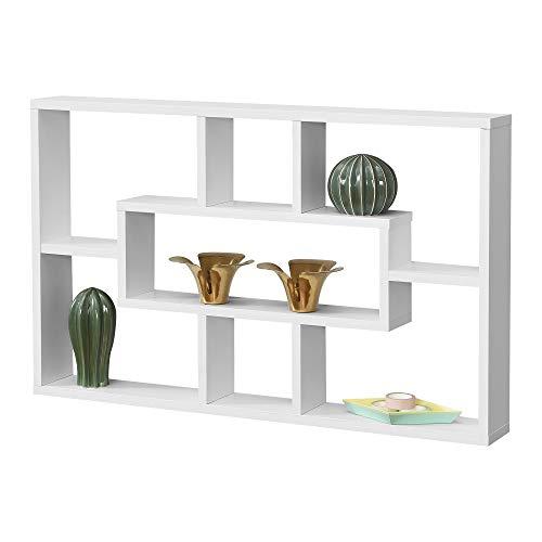 [en.casa] Wandregal Qinngua 77 x 10 x 48 cm Schweberegal mit 7 Ablageflächen Spanplatte Weiß