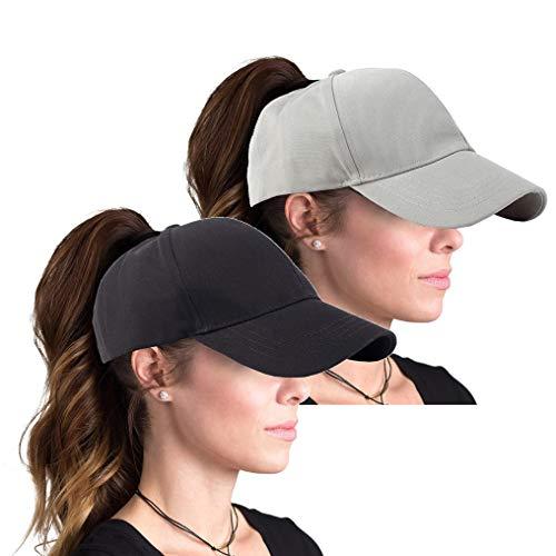 FGSS Plain Baseball Cap for Women High Ponytail Hat (Black+Grey)